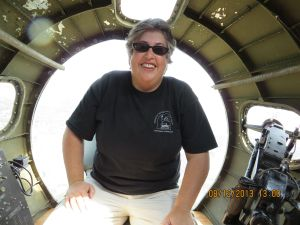 Here I am in the nose of a B-17.  Bombs away!