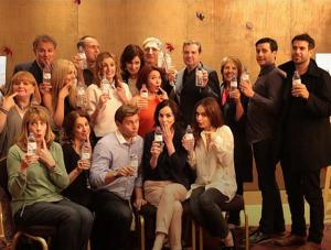 Downton Abbey cast with water bottles