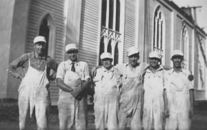 Johnson Brothers painting the Christ Church in Stratford, Connecticut.  My grandfather Lawrence (Larry) is 2nd from left.  Harold Johnson, his brother, is the far right.