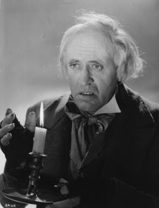 "Alastair Sim as Scrooge in the 1951 version of Dickens' ""A Christmas Carol."""