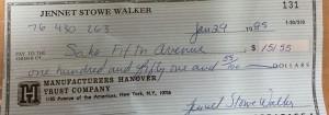 An old check from 1985...I wonder if Sak's got their money.